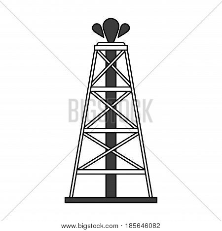 color silhouette cartoon oil crude tower vector illustration