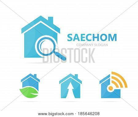 Vector of real estate and loupe logo combination. House and magnifying glass symbol or icon. Unique rent and search logotype design template.