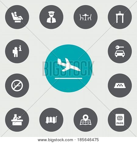 Set Of 13 Airplane Icons Set.Collection Of Aviator, Passport, Letdown And Other Elements.