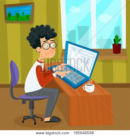 Vector cartoon young programmer man is working with laptop. EPS10 illustration of student studying process or search of work sitting at home. Business concept.