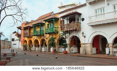 Cartagena de Indias, Bolivar / Colombia - April 10 2016: Plaza de los Coches in the historical center. Cartagena's colonial walled city and fortress were designated a UNESCO World Heritage Site