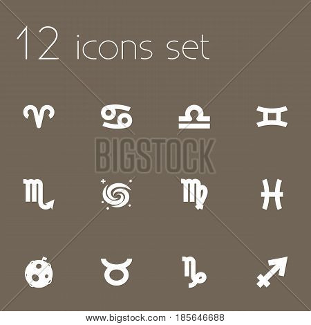 Set Of 12 Galaxy Icons Set.Collection Of Crab, Lunar, Virgin And Other Elements.