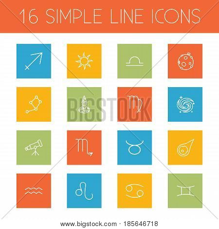 Set Of 16 Horoscope Outline Icons Set.Collection Of Aqurius, Gemini, Telescope And Other Elements.