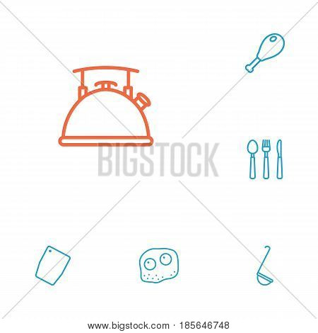 Set Of 6 Culinary Outline Icons Set.Collection Of Chicken Leg, Omelette, Kettle And Other Elements.