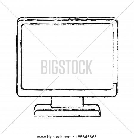 blurred silhouette cartoon front view computer display vector illustration