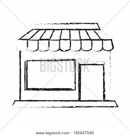 blurred silhouette cartoon facade shop store vector illustration