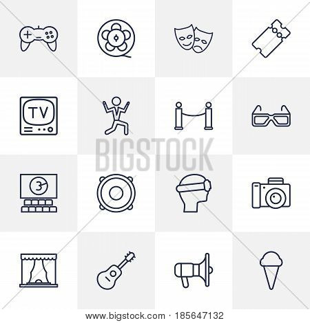 Set Of 16 Entertainment Outline Icons Set.Collection Of Tv Set, Vr Helmet, Theater And Other Elements.