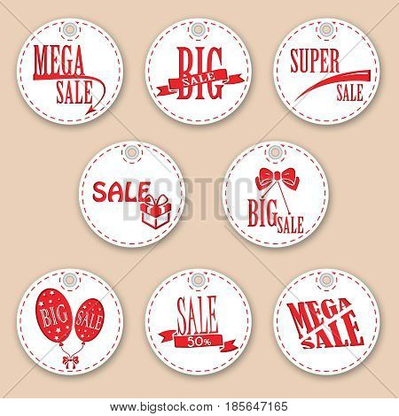 Set of sale tags with text. Vector labels for design banners and flyers. Isolated from the background.