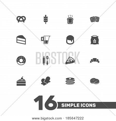 Set Of 16 Bakery Icons Set.Collection Of Custard, Dessert, Slice Bread And Other Elements.