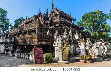 MANDALAY, MYANMAR - NOVEMBER 30, 2016 : Shwenandaw Monastery Mandalay city Myanmar (Burma)