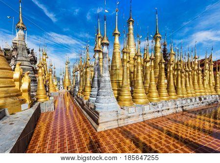 INLE LAKE, MYANMAR - DECEMBER 09, 2016 : stupas of the Shwe Inn Dein Pagoda at Inle Lake Shan state in Myanmar (Burma)