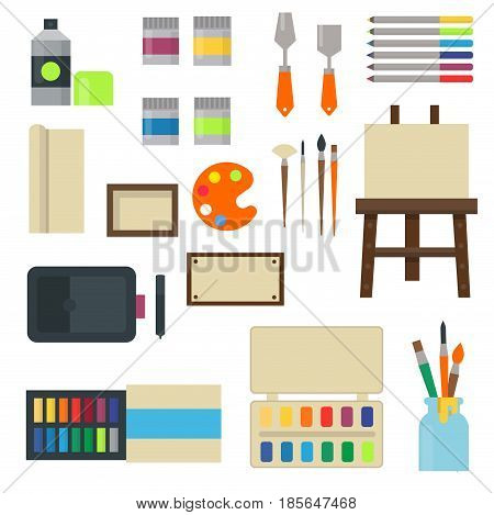 Painting art tools palette icon set flat vector illustration details stationery creative paint equipment. Canvas digital drawing symbol artist instrument for creativity decoration.