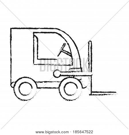 blurred silhouette cartoon forklift truck with forks transportin package vector illustration