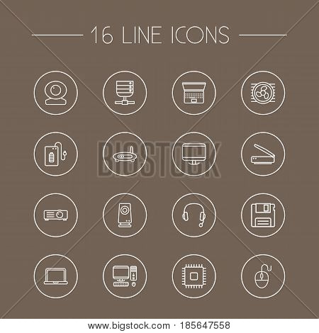 Set Of 16 Computer Outline Icons Set.Collection Of Headphone, Laptop, Cpu And Other Elements.
