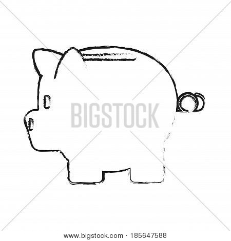blurred silhouette cartoon skecth side view piggy bank vector illustration