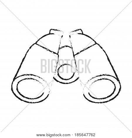 blurred silhouette cartoon binocular field glasses vector illustration