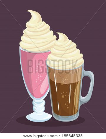 Glasses of coffee and pink smoothie with whipped cream over purple background. Vector illustration.