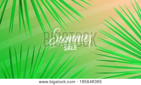 Summer sale design layout for banner, advertisement, card, poster etc. Background with trendy stripes, fan palm leaves and gradient background.