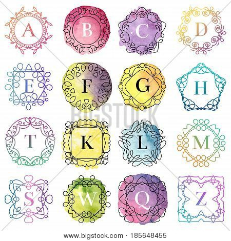 Set of monogram logo template with flourishes calligraphic elegant ornament watercolor badge letter vector illustration. Identity design heraldic fashion flourish frame.