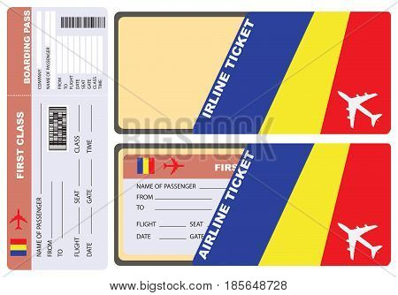 Service envelope for air ticket to Chad. Vector.