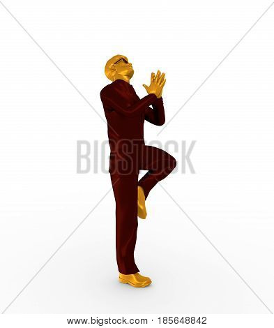 Businessman folded his hands in prayer. Portrait of businessman in yoga pose. 3D rendering. Bearded man wearing the sunglasses