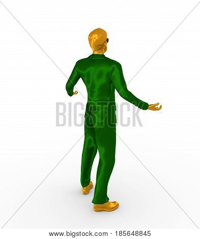Businessman in wizard pose. 3D rendering. Bearded man wearing the sunglasses. Back view