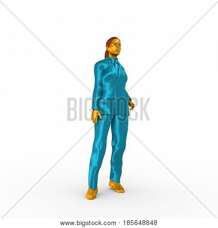 Isolated full-body portrait of a beautiful business woman. 3D rendering. Metallic material suit and body