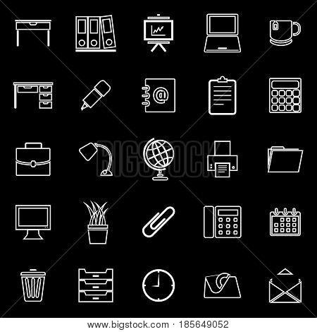 Workspace line icons on black background, stock vector