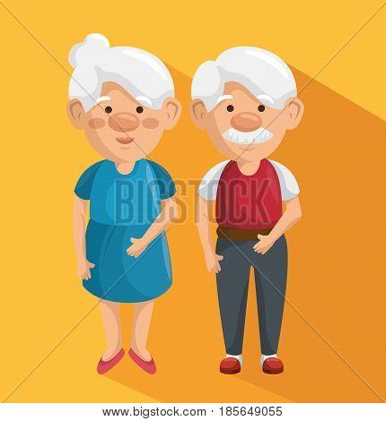 Standing elder couple over orange background. Vector illustration.