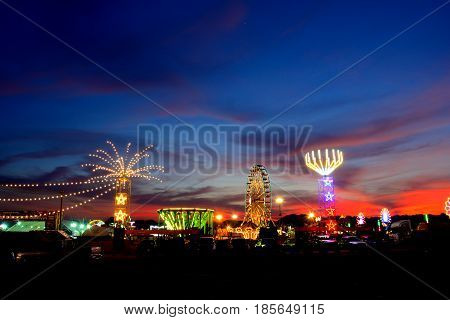 Beautiful light from amusement park in Thailand.