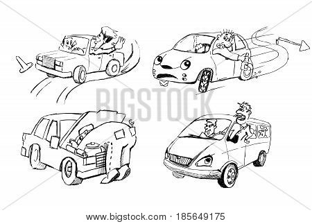 Four different cars and people in unusual situations