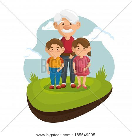 Grandpa and grandchildren at the park with green grass and blue sky over white background.