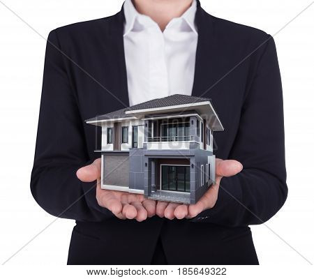House In Business Human Hand Isolated On White