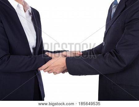 Shaking Hand Between Businessman And Businesswoman Isolated On White