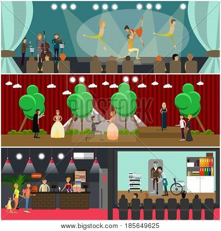 Vector set of opera art concept posters. Ballet and Opera performances, Cinema art design elements in flat style.