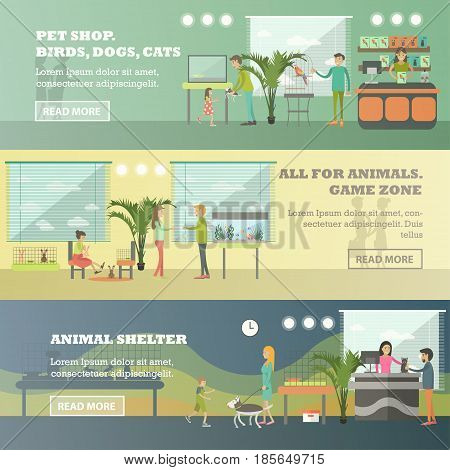 Vector set of pet store horizontal banners. Pet shop. Birds, dogs, cats, All for animals. Game zone and Animal shelter flat style design elements.
