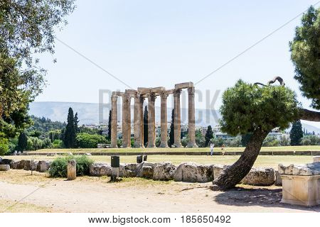 ATHENS, GREECE - May 3, 2017: view of Historic Old Acropolis of Athens