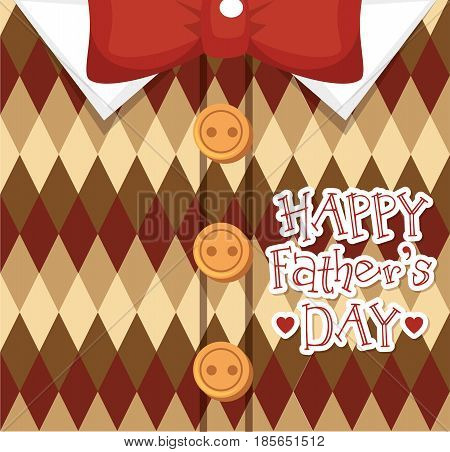 Happy father day card with hearts over geometrical classic brown sweater and red bowtie background. Vector illustration.