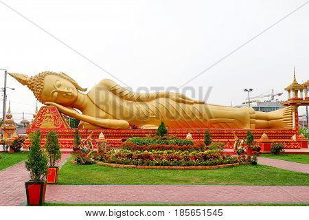 Vientiane, Laos 1 MAY 2017: Big Buddha statue at Wat Pha That Luang in Vientiane, are public domain or treasure of Buddhism