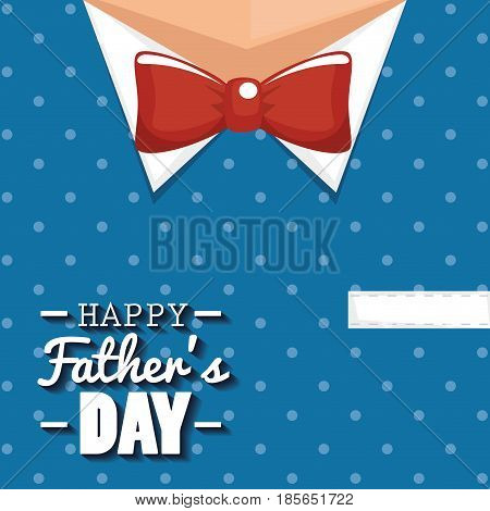 Happy father day card over blue dotted suit and red bowtie background. Vector illustration.