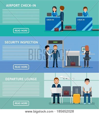 Airport terminals banners. Airport Terminal Security Check, check-in, waiting room. People at the airport. Vector flat style illustration.