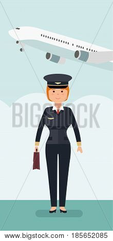 Female civil aviation pilot in the background of the plane and the airport. Vector flat style illustration.