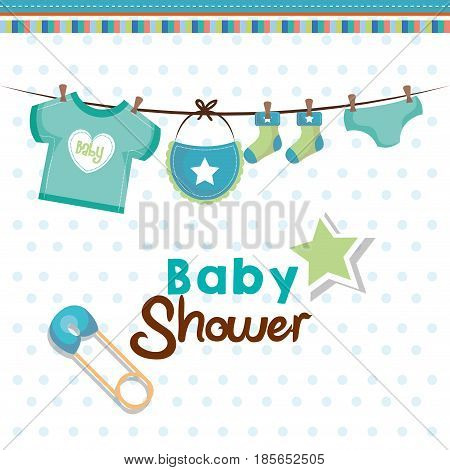Baby shower card with hanging teal baby clothing, safety pin and star over white dotted background. Vector illustration.
