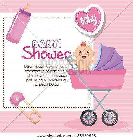 Baby shower card with baby in stroller, safety pin, heart and bottle over pink striped background. Vector illustration.