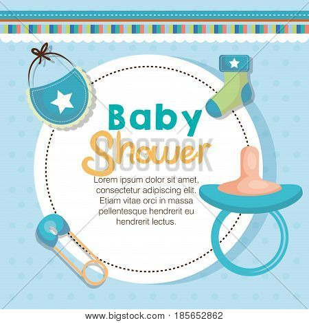 Baby shower card with picifier, bib, safety pin and sock over blue dotted background. Vector illustration.