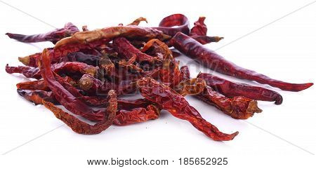 dry red pepper on white background pice, spicy, cayenne, healthy, object, asian, plant
