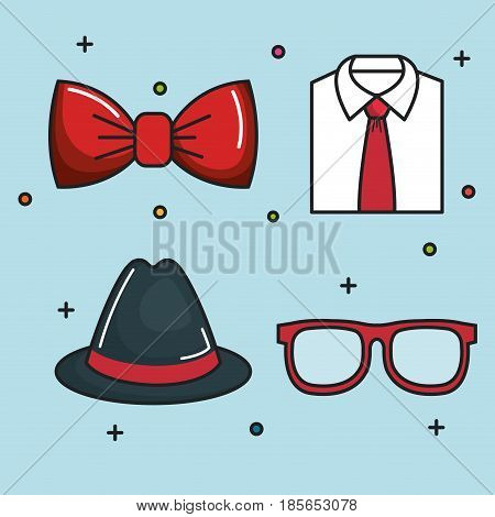 Red bowtie, formal shirt, trilby hat and glasses over blue background. Vector illustration.