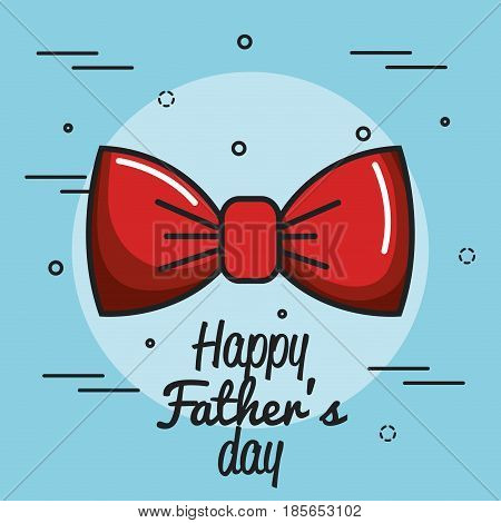 Happy father day card with red bowtie icon over blue background. Vector illustration.