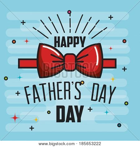 Happy father day card with red bowtie over blue background. Vector illustration.