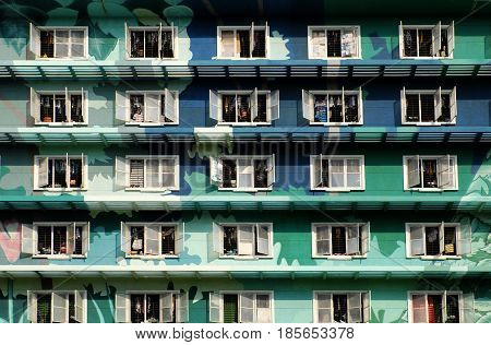 Group Of Windows At Highrise Building